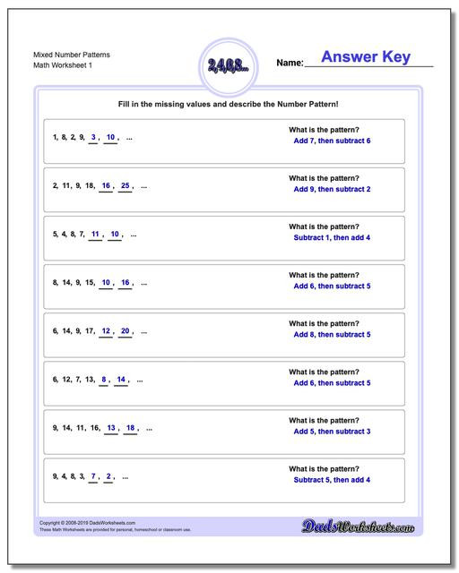 4th Grade Sequencing Worksheets Number Patterns