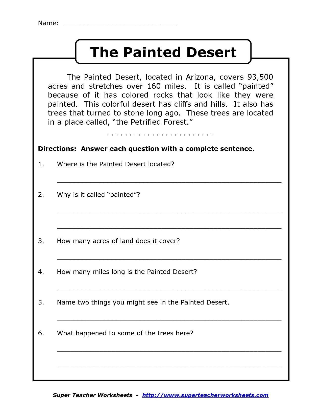 4th Grade Sequencing Worksheets Prehension Worksheet for 1st Grade Y2 P3 the Painted