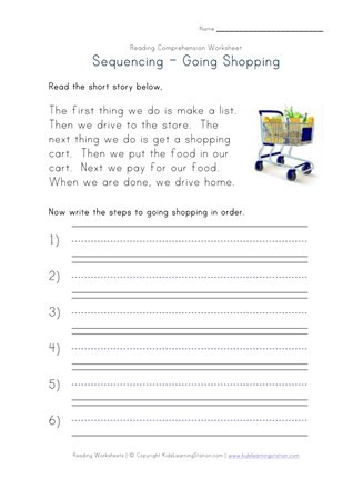 4th Grade Sequencing Worksheets Sequencing Reading Prehension Worksheet Going Shopping