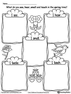 5 Senses Kindergarten Worksheets the Five Senses In the Spring Time