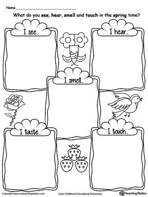 5 Senses Worksheets Kindergarten the Five Senses In the Spring Time