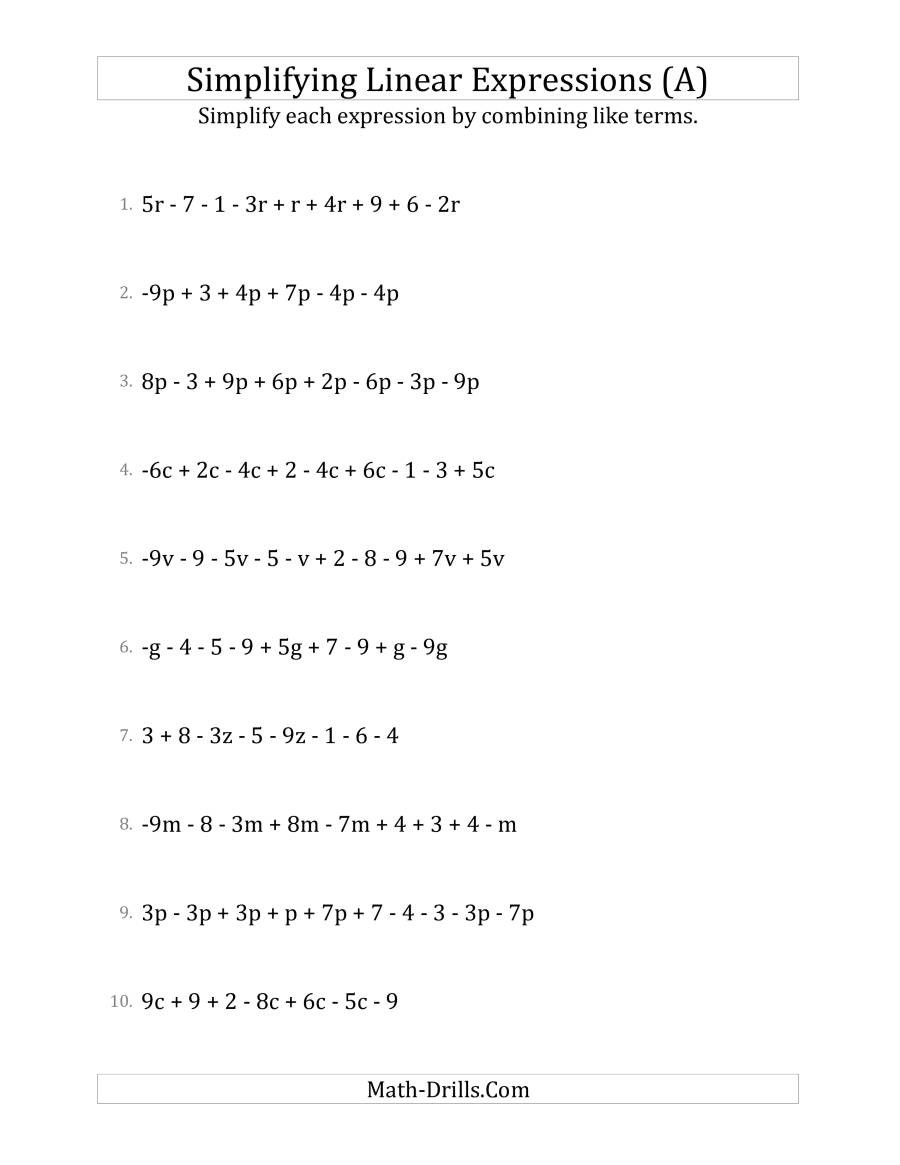 5th Grade Algebraic Expressions Worksheets Simplifying Linear Expressions with 6 to 10 Terms A