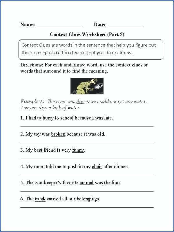 5th Grade Context Clues Worksheets 38 Interesting Context Clues Worksheets