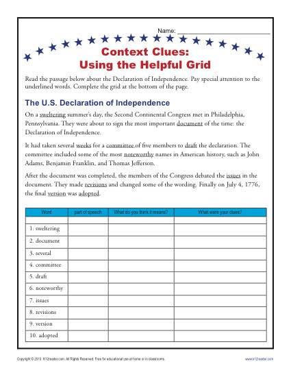 5th Grade Context Clues Worksheets Context Clues Grid