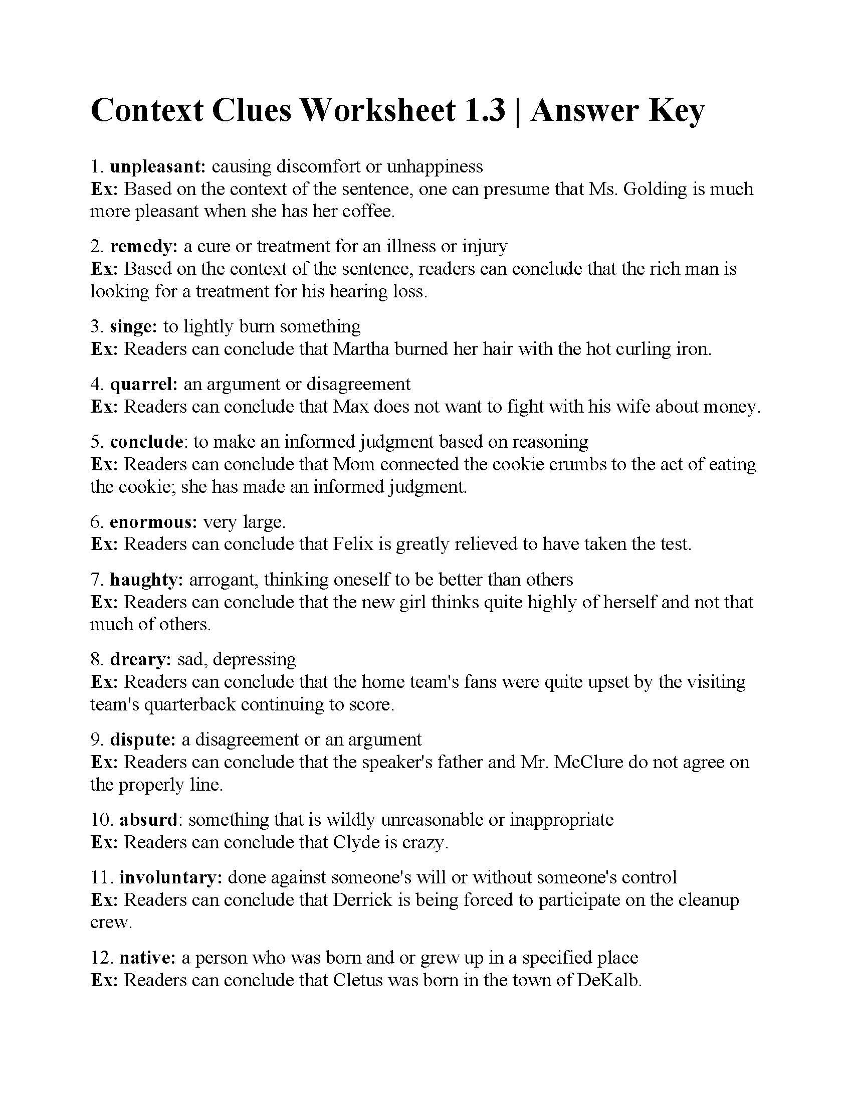 5th Grade Context Clues Worksheets Context Clues Worksheet 1 3