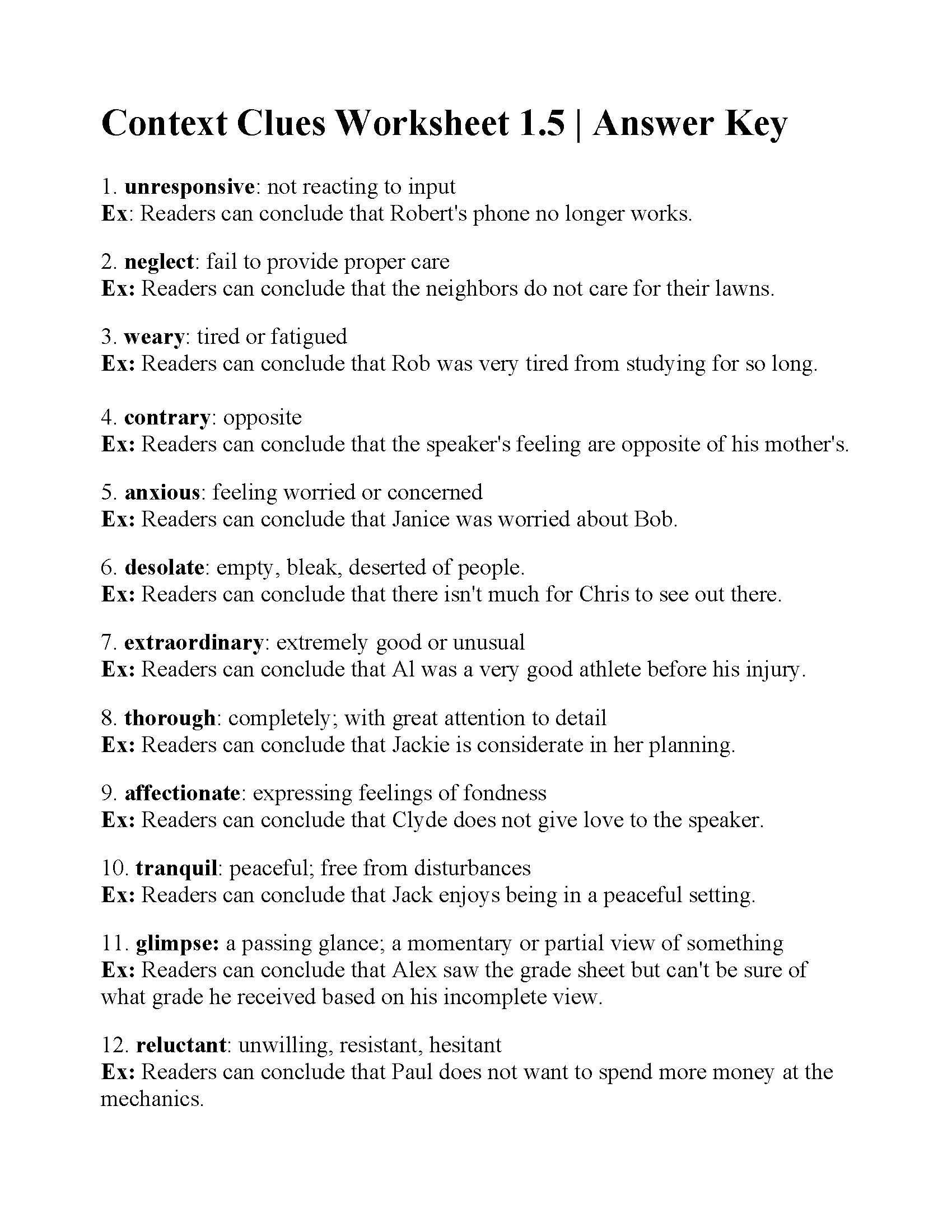 5th Grade Context Clues Worksheets Context Clues Worksheet 1 5
