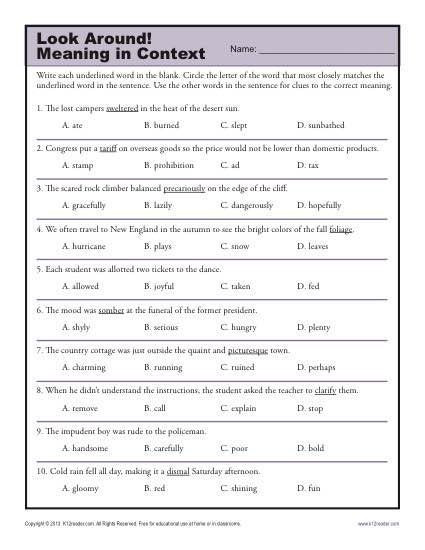 5th Grade Context Clues Worksheets Look Around Meaning In Context