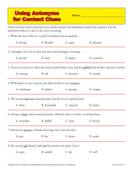 5th Grade Context Clues Worksheets Using Antonyms for Context Clues