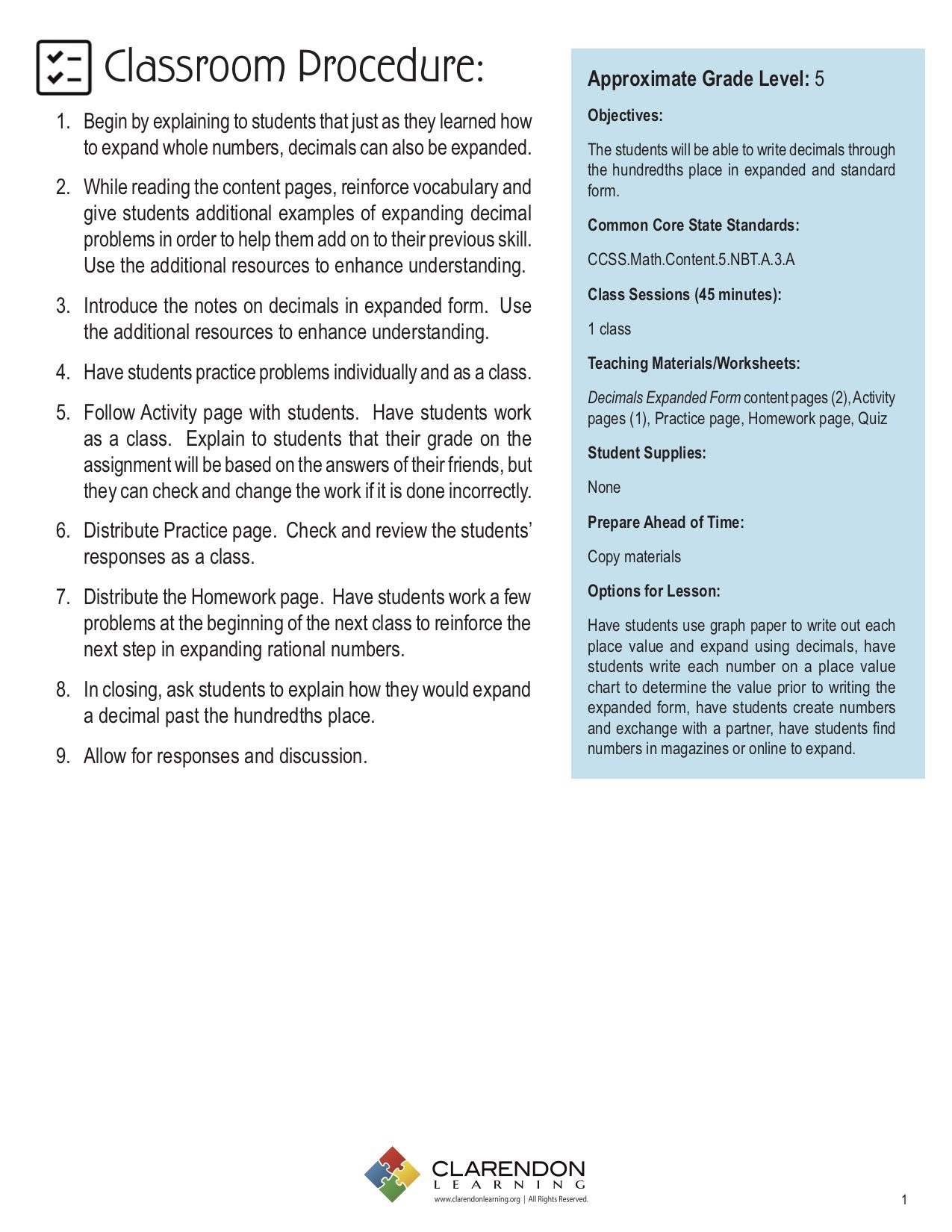 5th Grade Expanded form Worksheets Decimals Expanded form Lesson Plan