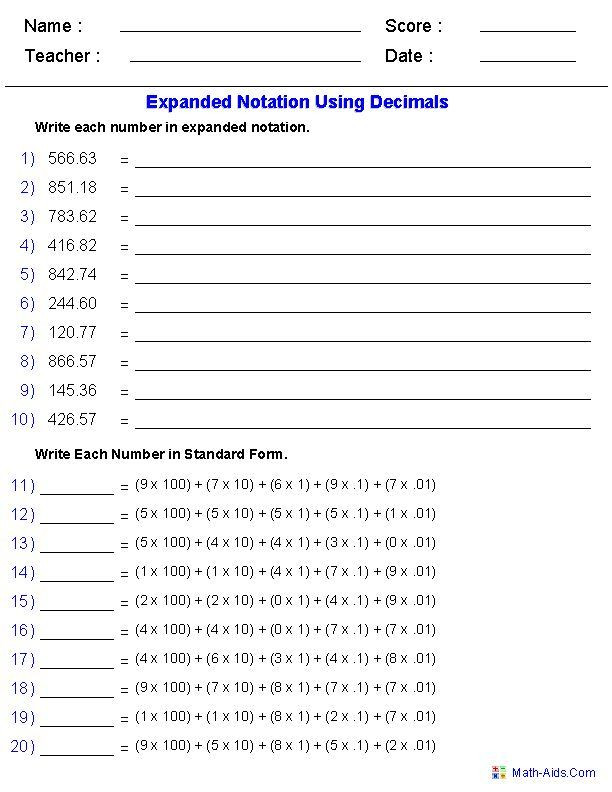 5th Grade Expanded form Worksheets Expanded Notation Using Decimals Place Value Worksheets