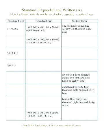 5th Grade Expanded form Worksheets Place Value Worksheets 5th Grade Decimals and Place Value