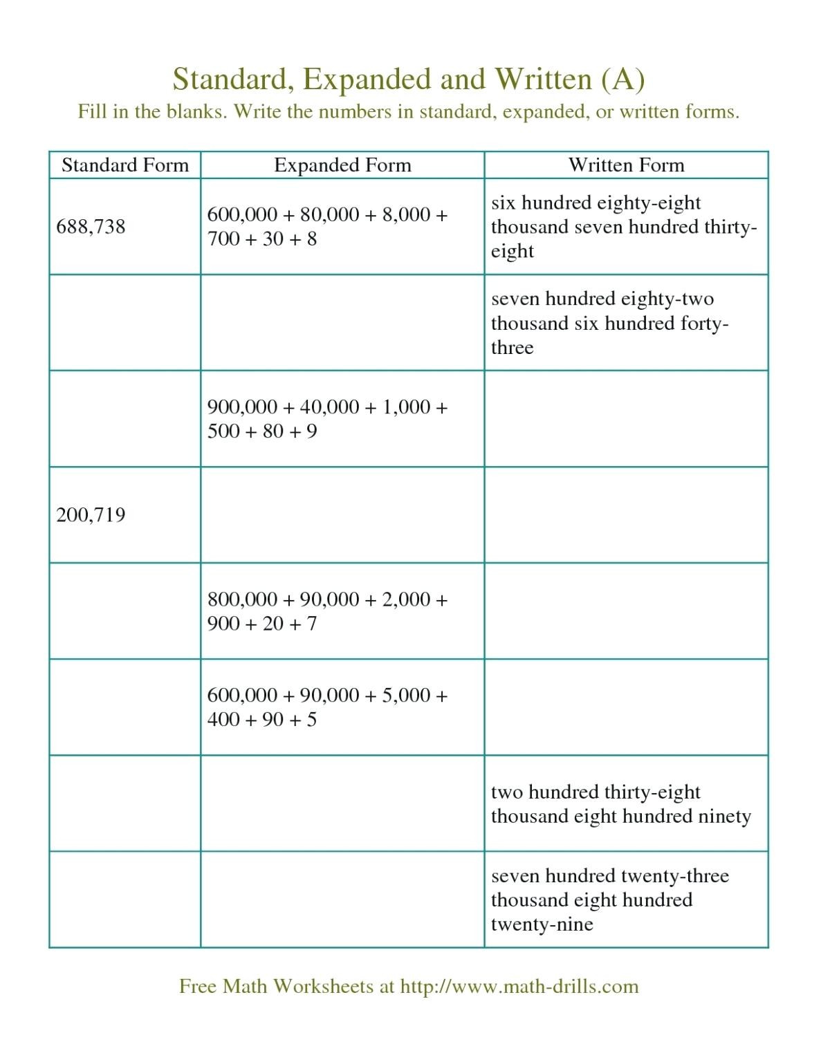 5th Grade Expanded form Worksheets Place Value Worksheets 5th Grade for Educations Place Value