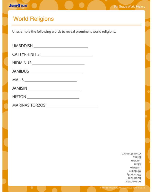 5th Grade History Worksheets World Religions View Free History Printable Worksheets for