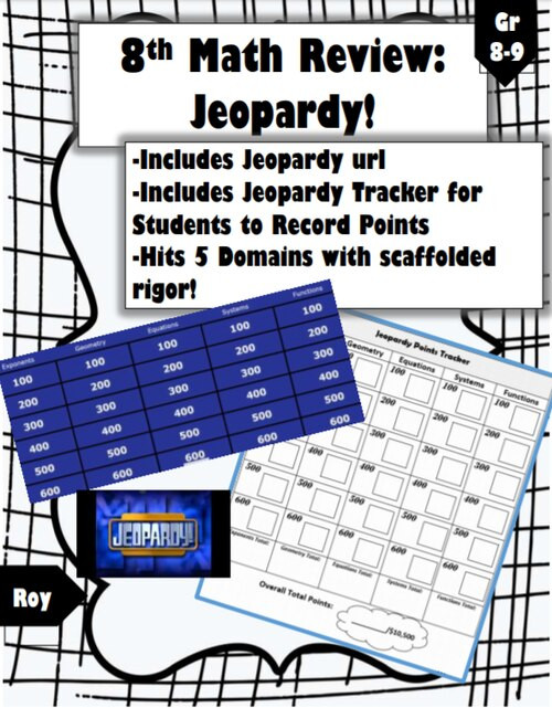 5th Grade Jeopardy Math 8th Math Review Fun Jeopardy Game & Tracker