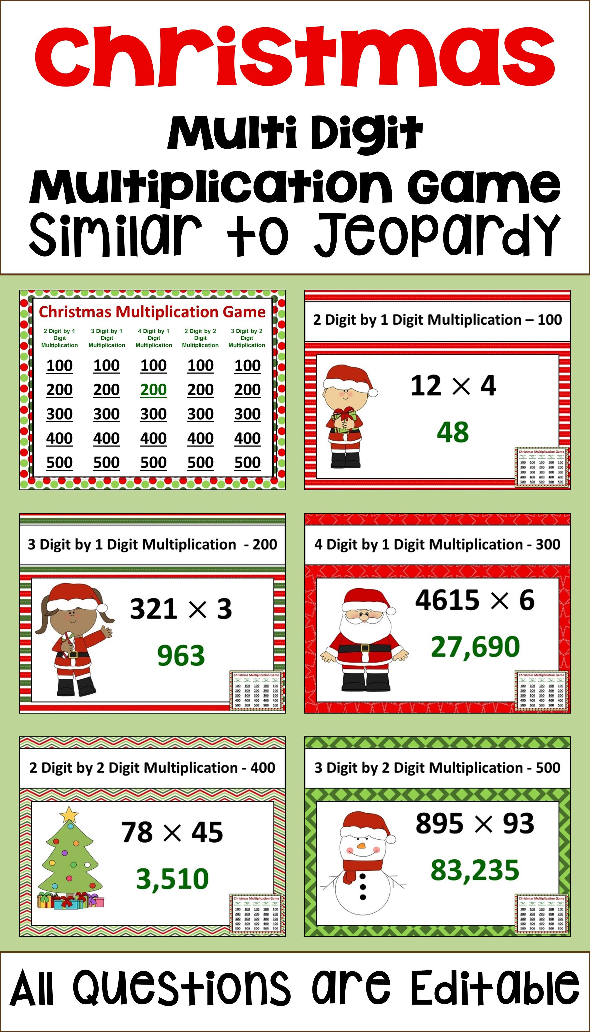 5th Grade Jeopardy Math Christmas Multiplication Game Similar to Jeopardy