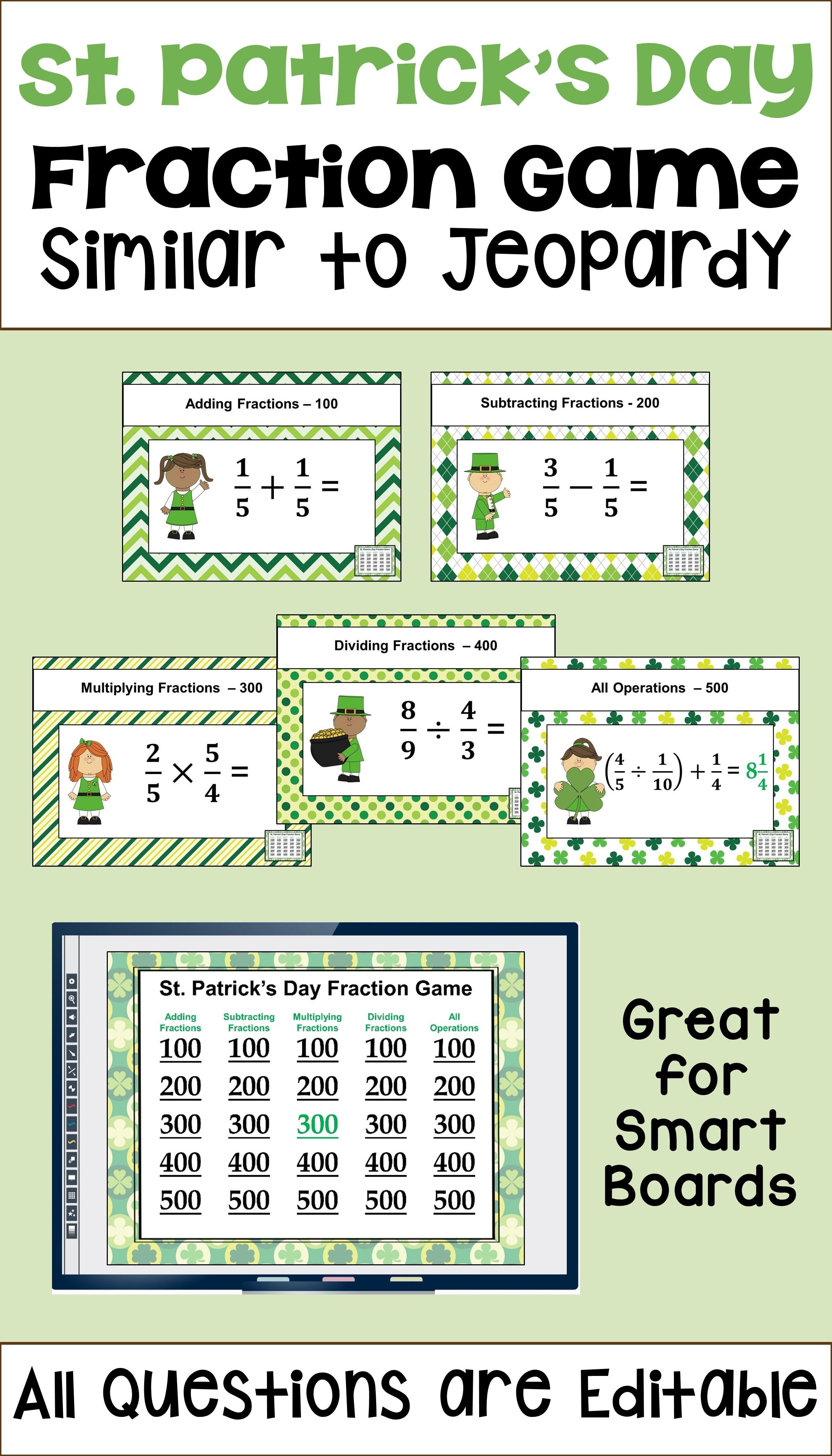 5th Grade Jeopardy Math St Patrick S Day Fraction Game Similar to Jeopardy