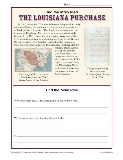 5th Grade Main Idea Worksheets 5th Grade Main Idea Worksheet About the Louisiana Purchase