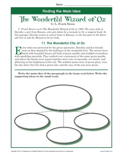 5th Grade Main Idea Worksheets 5th Grade Main Idea Worksheet About the Wonderful Wizard Of Oz