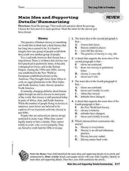 5th Grade Main Idea Worksheets Main Idea and Details Worksheets 5th Grade