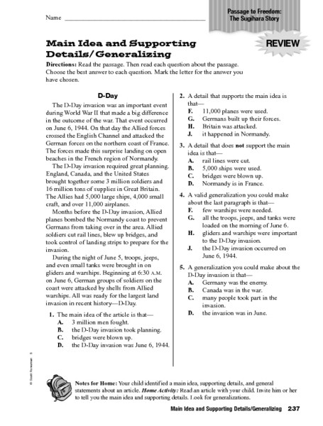 5th Grade Main Idea Worksheets Main Idea and Supporting Details Generalizing Worksheet for