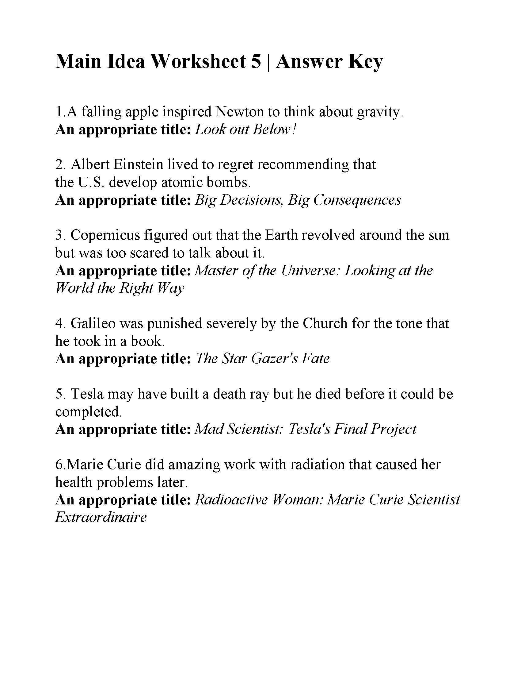 5th Grade Main Idea Worksheets Main Idea Worksheet 5