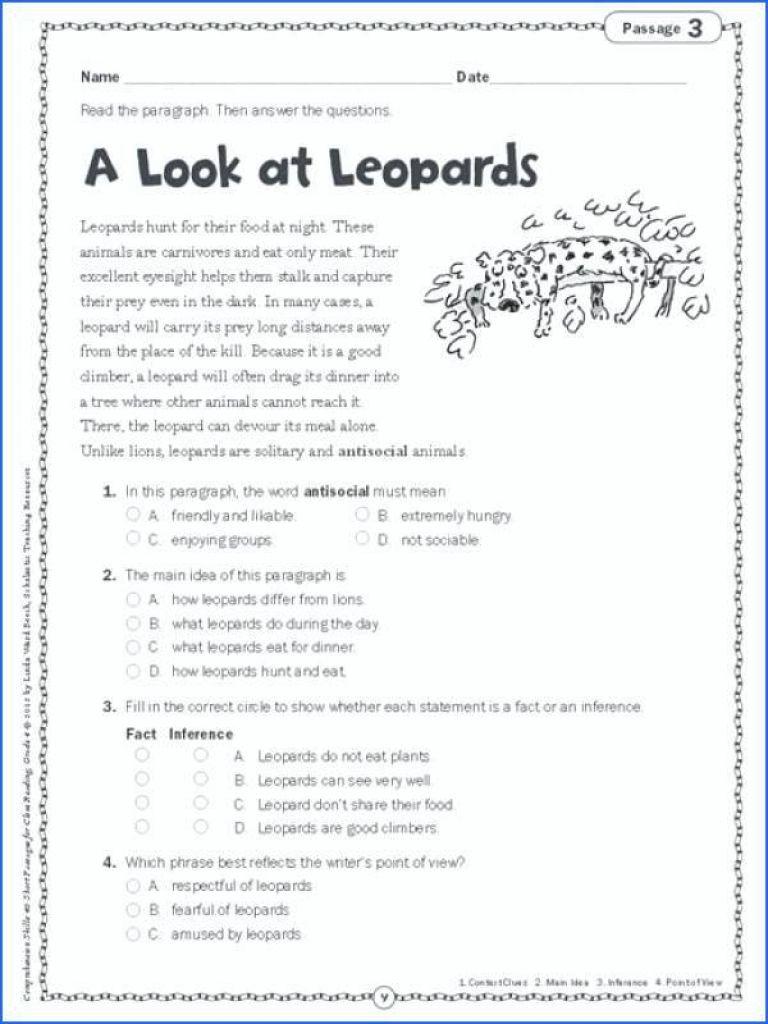 5th Grade Main Idea Worksheets Main Idea Worksheets 5th Grade for Printable Math On