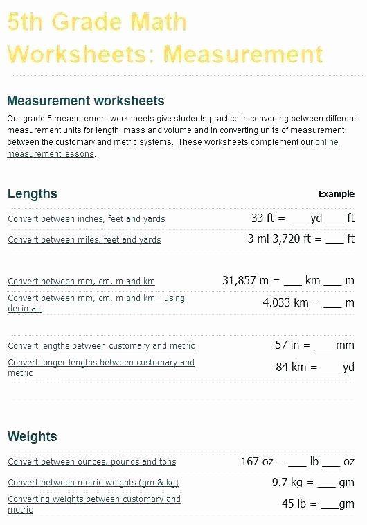 5th Grade Measurement Worksheet Math Conversion Worksheets 5th Grade Measurements Worksheets