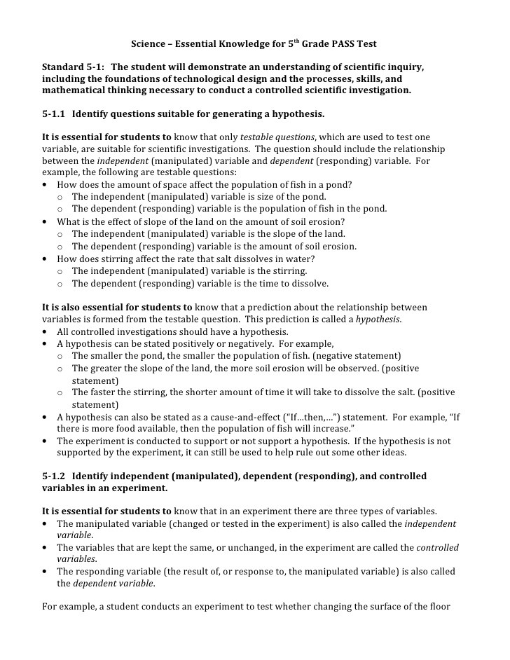 5th Grade Science Practice Worksheets Science – Essential Knowledge for 5th Grade Pass Test