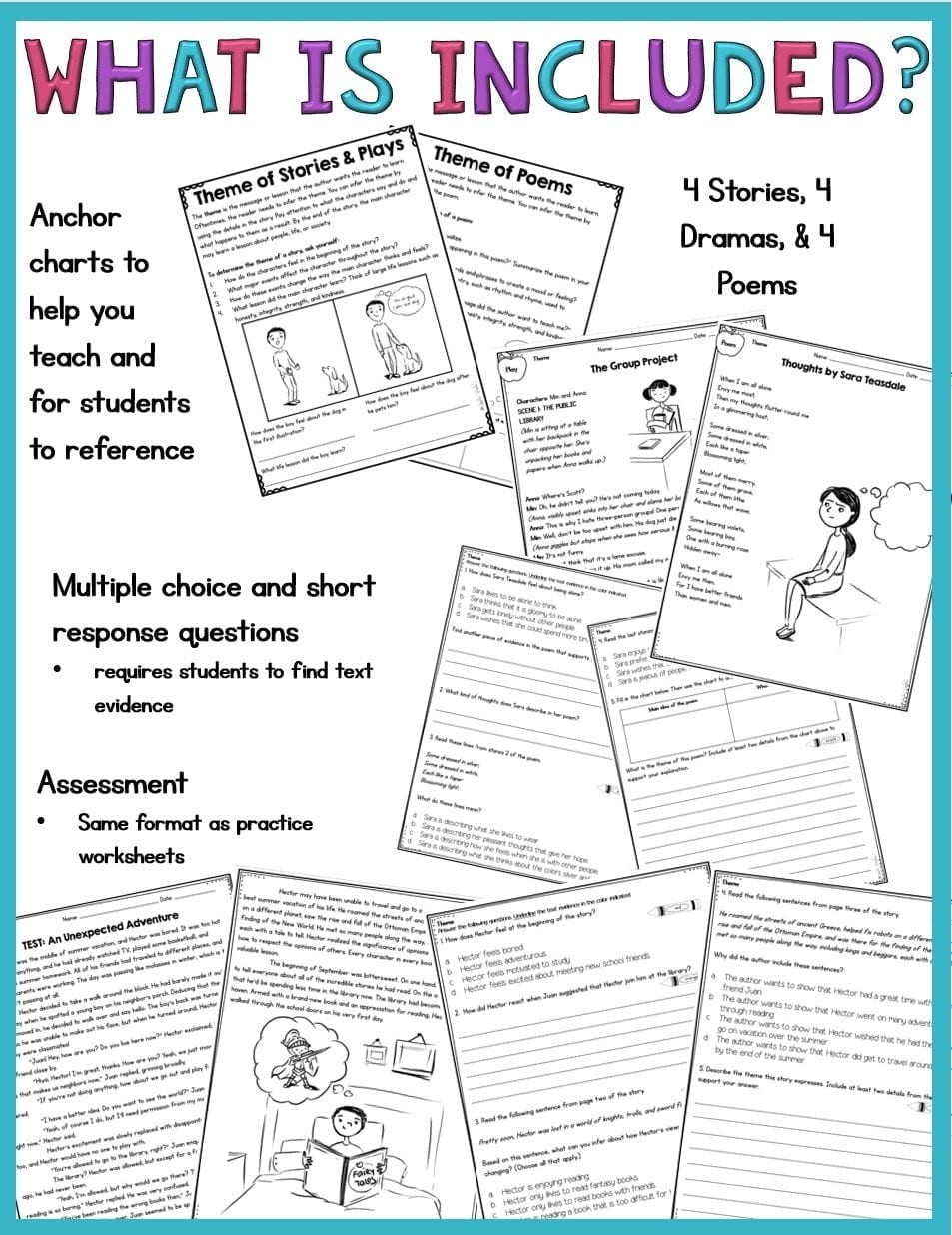 5th Grade theme Worksheets theme In Stories Plays and Poems 4th Grade Rl 4 2 and 5th Grade Rl 5 2