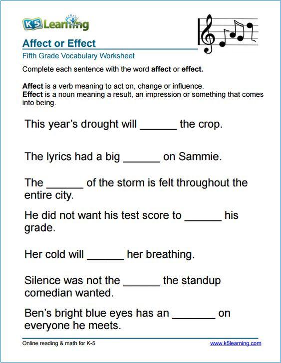 5th Grade Vocabulary Worksheets Grade 5 Affect Vs Effect Vocabulary Worksheet