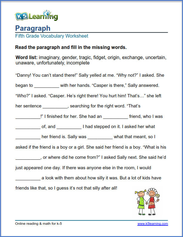 5th Grade Vocabulary Worksheets Grade 5 Vocabulary Worksheets – Printable and organized by