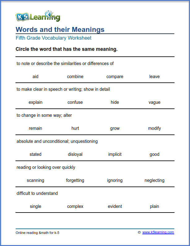 5th Grade Vocabulary Worksheets Grade Vocabulary Worksheets Printable and organized by
