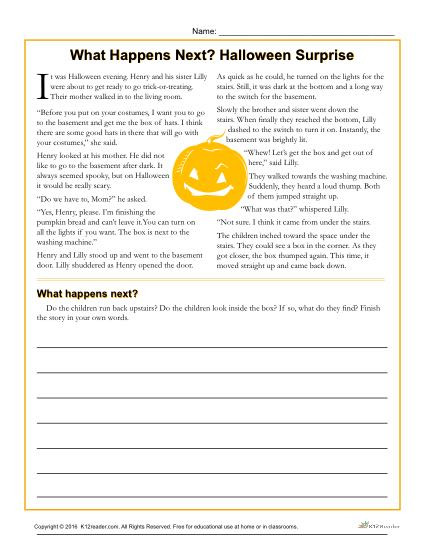 5th Grade Worksheets Printable Reading Halloween Surprise Printable Reading Prehension Activity