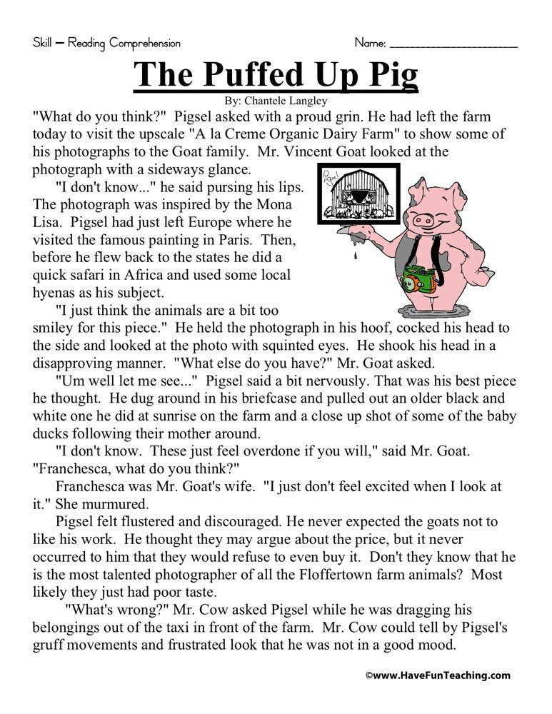 5th Grade Worksheets Printable Reading Reading Prehension Worksheet the Puffed Up Pig