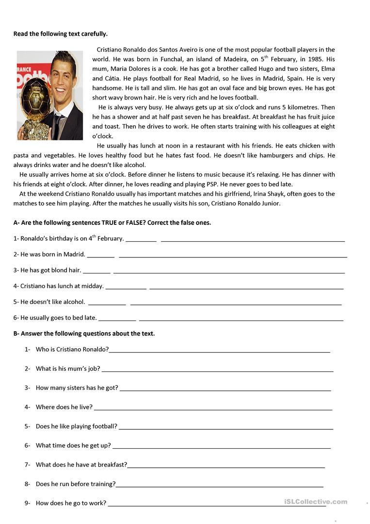 5th Grade Worksheets Printable Reading Test 5th Grade English Esl Worksheets for Distance