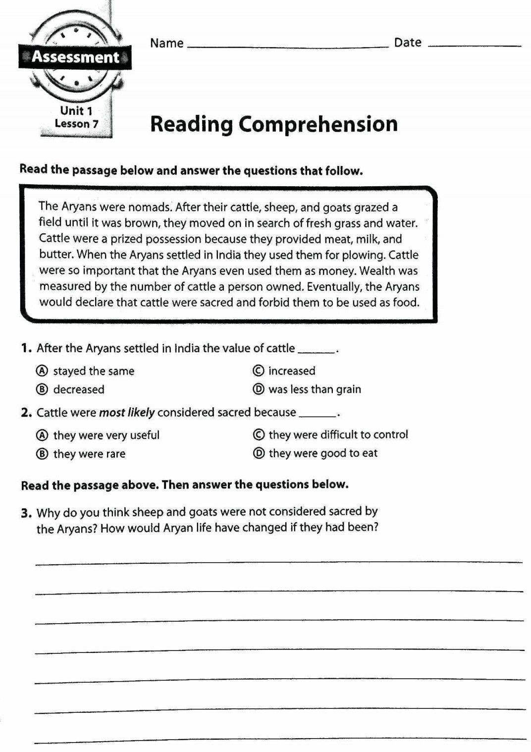 6th grade reading prehension worksheets pdf dolapmagnetbandco throughout 6th grade ela worksheets