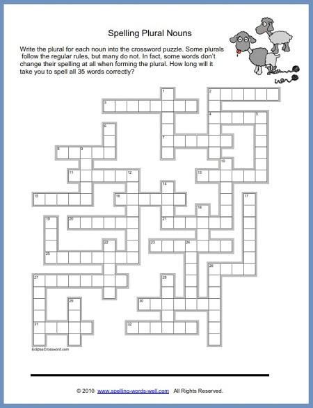6th Grade Math Puzzles Fun Spelling Puzzles Worksheets Puizzles Plurals Pin