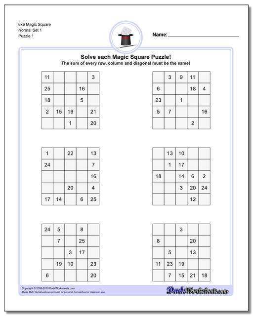 6th Grade Math Puzzles Magic Square Puzzles