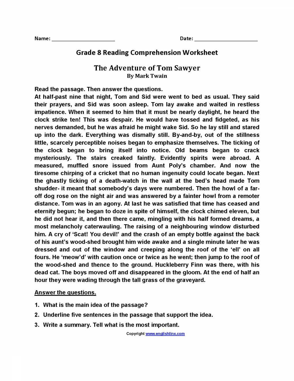 6th Grade Reading Worksheets Printable 5 Reading Worksheets 6th Worksheets Schools