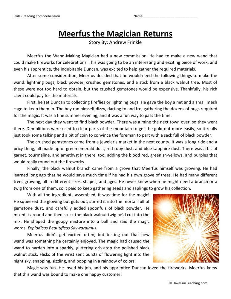 6th Grade Reading Worksheets Printable Reading Prehension Worksheet Meerfus the Magician