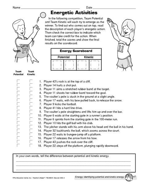 6th Grade Science Energy Worksheets Potential Vs Kinetic Energy
