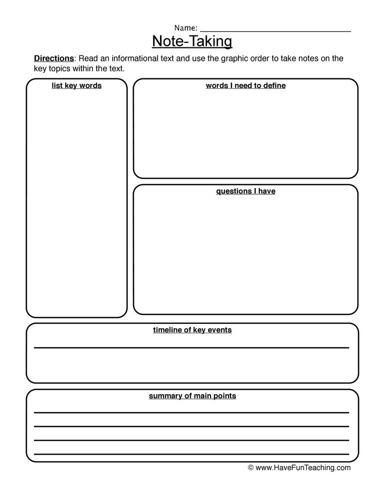 6th Grade Summarizing Worksheets Informational Text Note Taking Worksheet