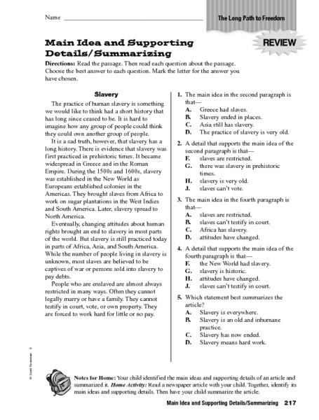 6th Grade Summarizing Worksheets Main Idea and Supporting Details Summarizing Worksheet for