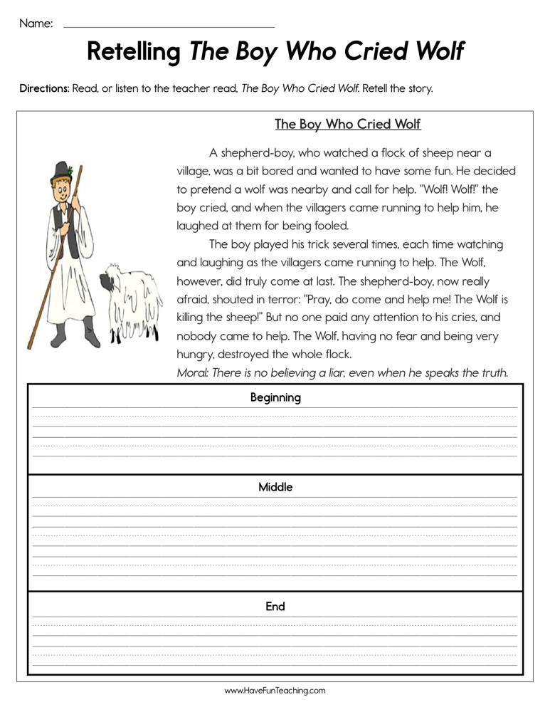6th Grade Summarizing Worksheets Retelling the Boy who Cried Wolf Worksheet