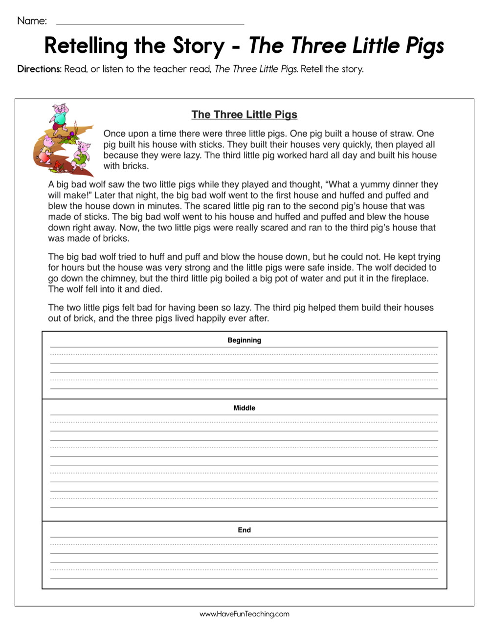 6th Grade Summarizing Worksheets Retelling the Story the Three Little Pigs Worksheet