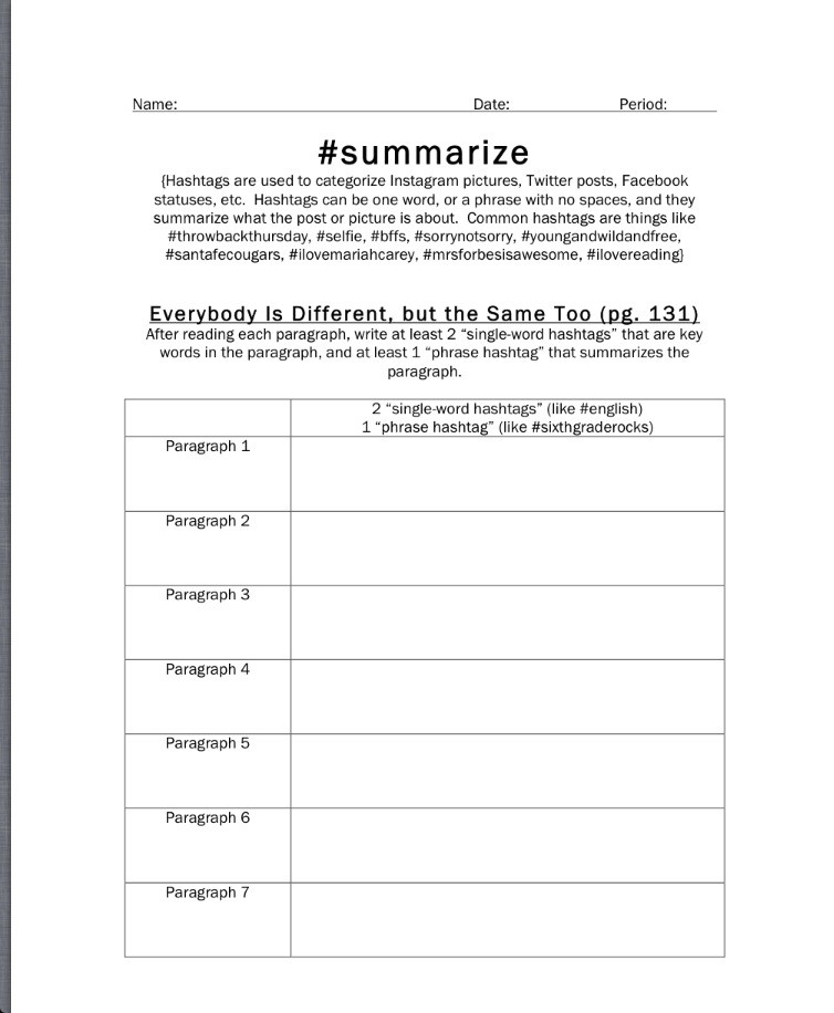 6th Grade Summarizing Worksheets Summarize