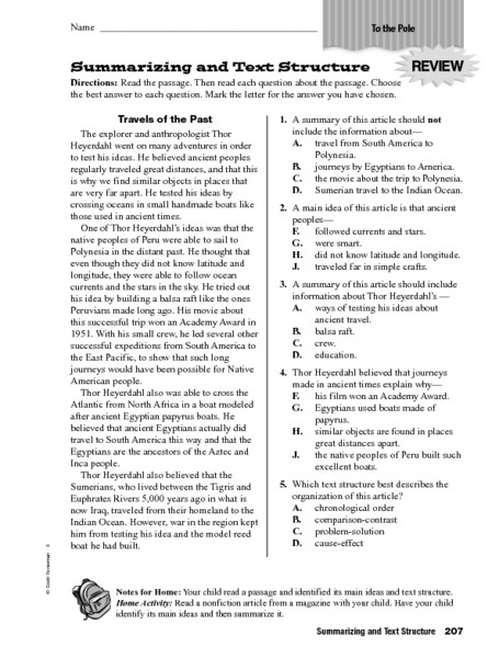 6th Grade Summarizing Worksheets Summarizing and Text Structure Worksheet for 4th 6th Grade