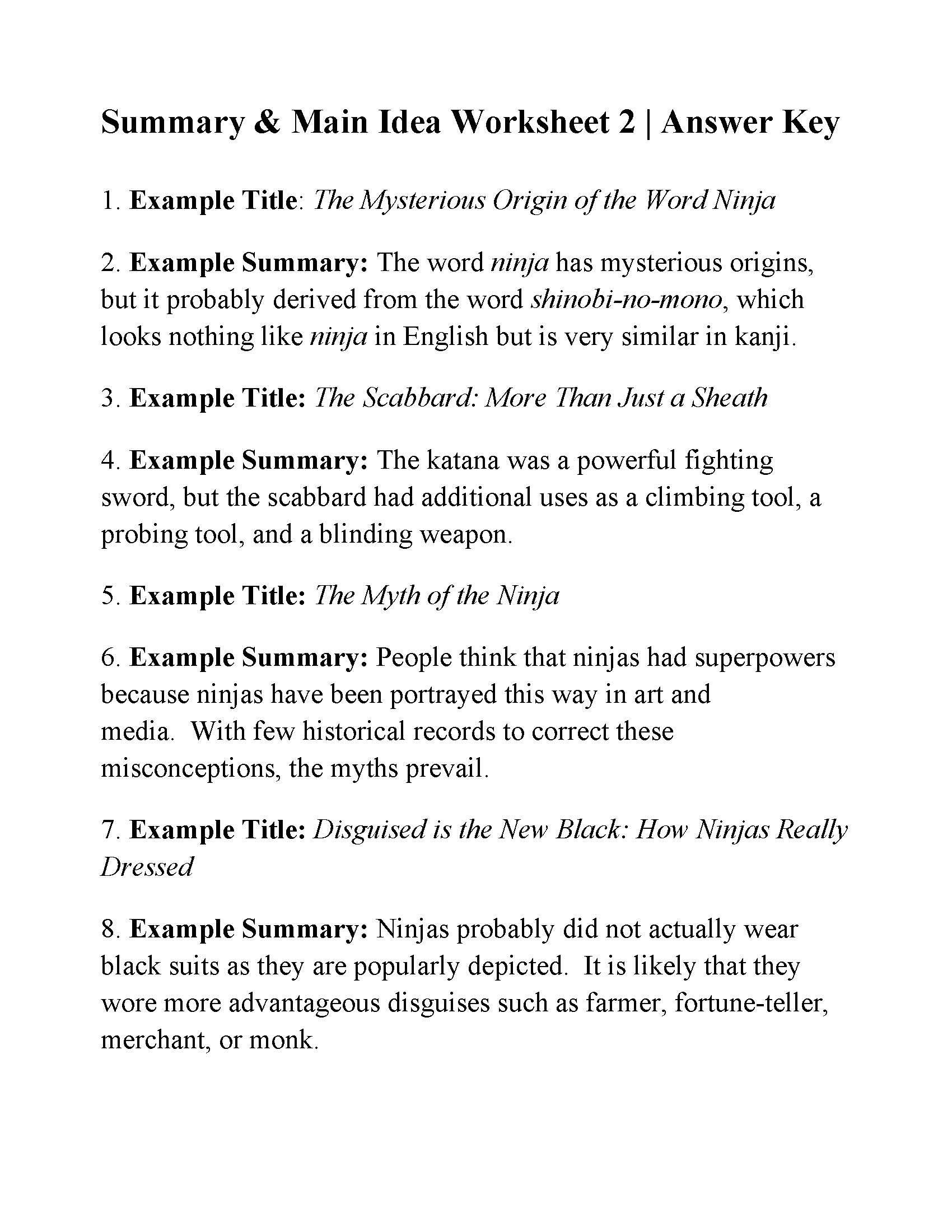 6th Grade Summarizing Worksheets Summary and Main Idea Worksheet 2