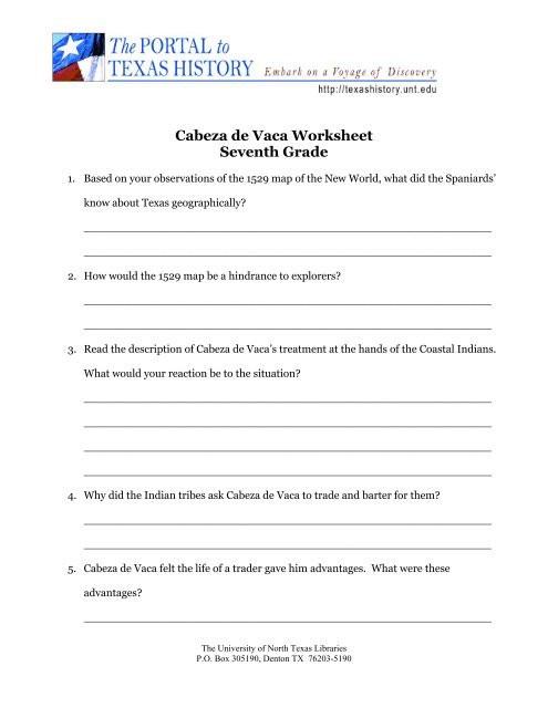7th Grade History Worksheets Cabeza De Vaca Worksheet Seventh Grade University Of north