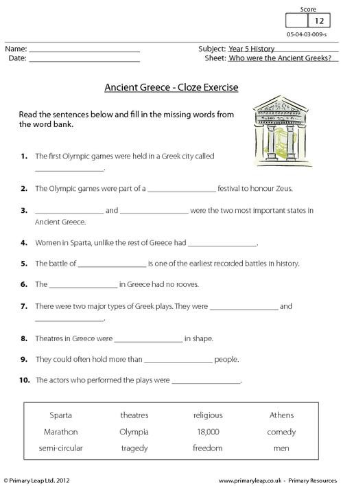 7th Grade History Worksheets History Ancient Cloze Activity Worksheet Primaryleap Greek